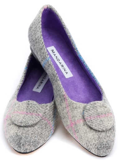 Silver Tweed Button Pumps