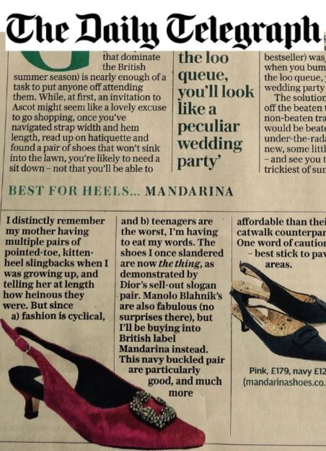 Daily Telegraph - Mandarina Shoes in the media