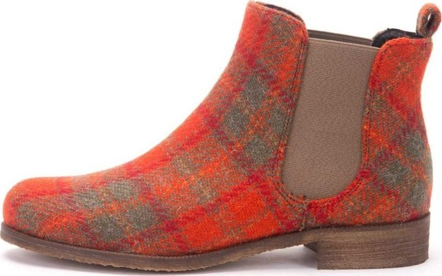 Orange Check Harris Tweed Chelsea Boots Thumbnail