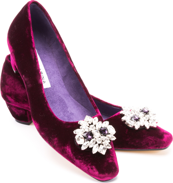 Claret Velvet Mid Heel Diamond Buckle Court Thumbnail