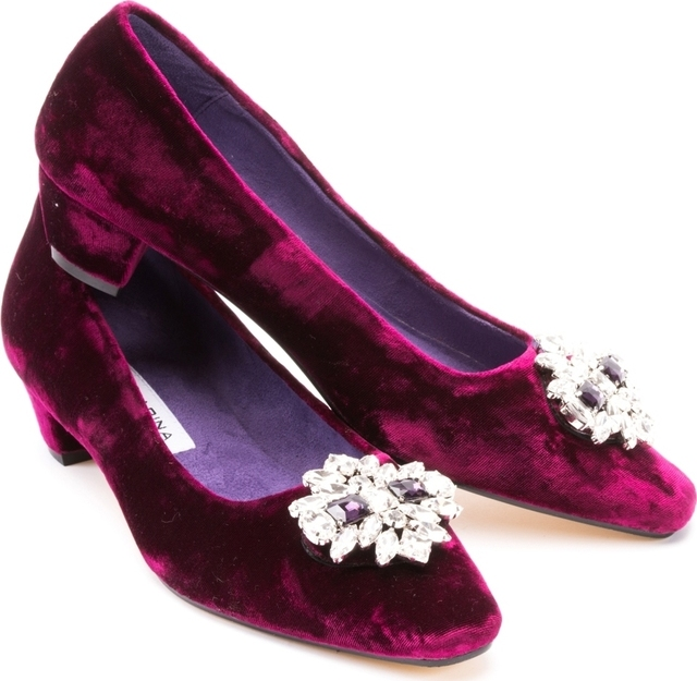 Claret Velvet Mid Heel Diamond Buckle Court