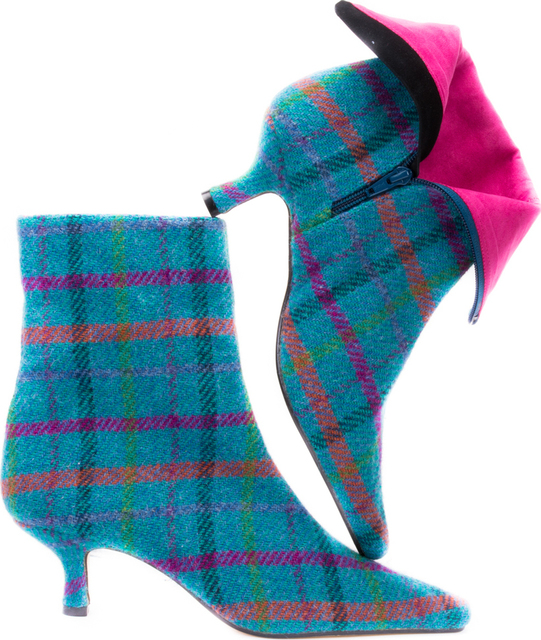 Turquoise Check Harris Tweed Ankle Boots