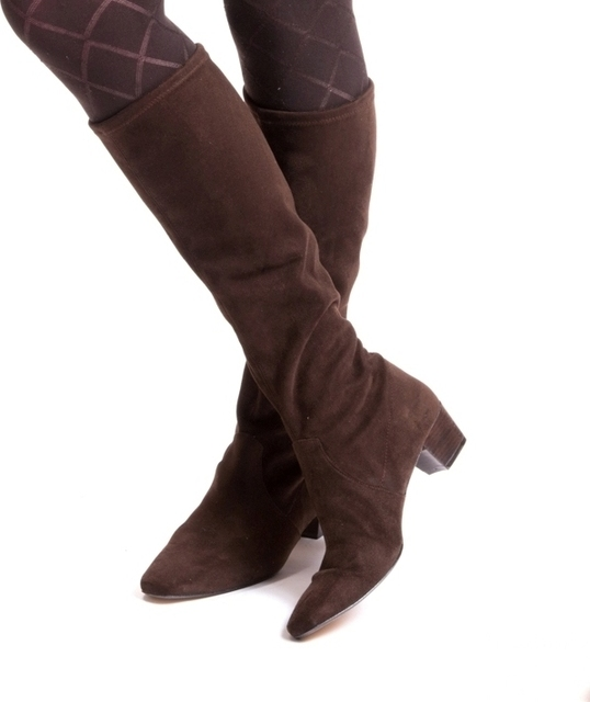 Classic Brown Stretch Suede Long Boots