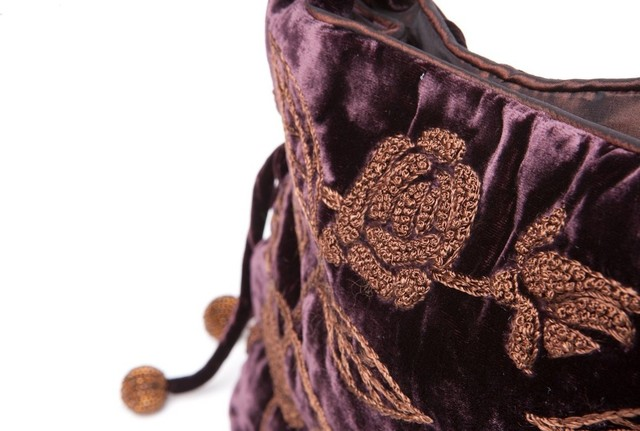 Brown Velvet Handbag