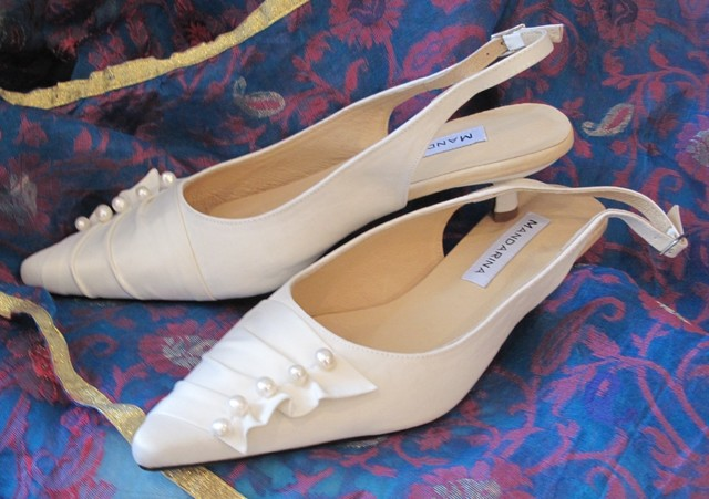 Pearl & Satin Trim Kitten Heel Wedding Shoes
