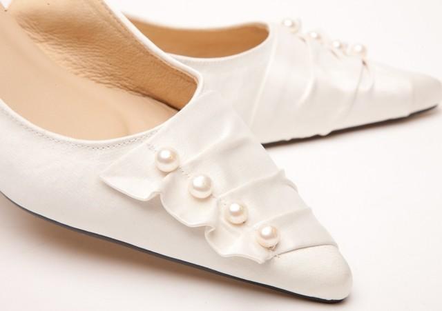 911773c8407 Pearl   Satin Trim Kitten Heel Wedding Shoes Thumbnail