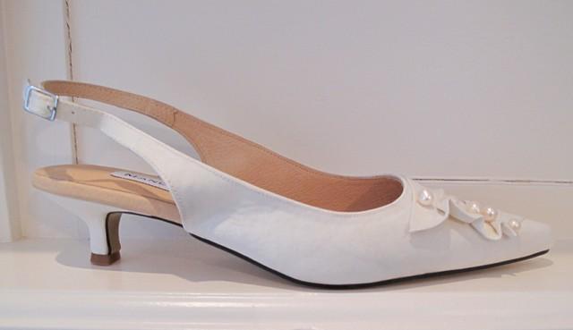 9a8fbefdcdb Pearl   Satin Trim Kitten Heel Wedding Shoes
