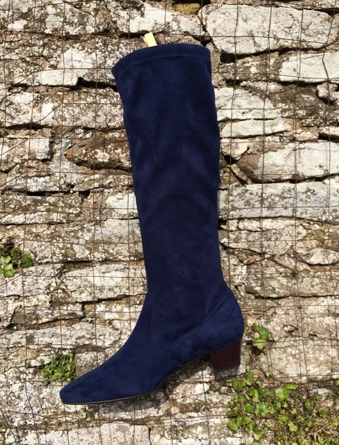 Navy Stretch Suede Long Boots