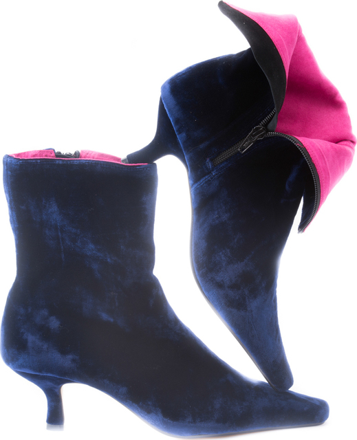 Midnight Blue Velvet Ankle Boots