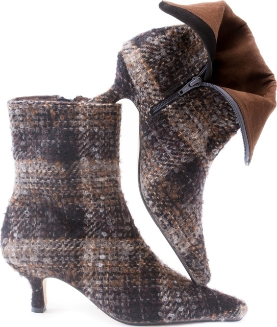 Brown & Black Boucle Ankle Boot