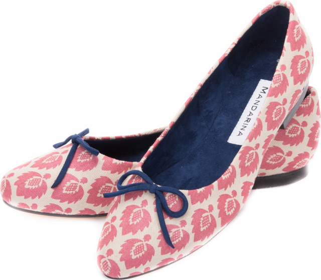 Pink Fern Pattern Bow Pumps
