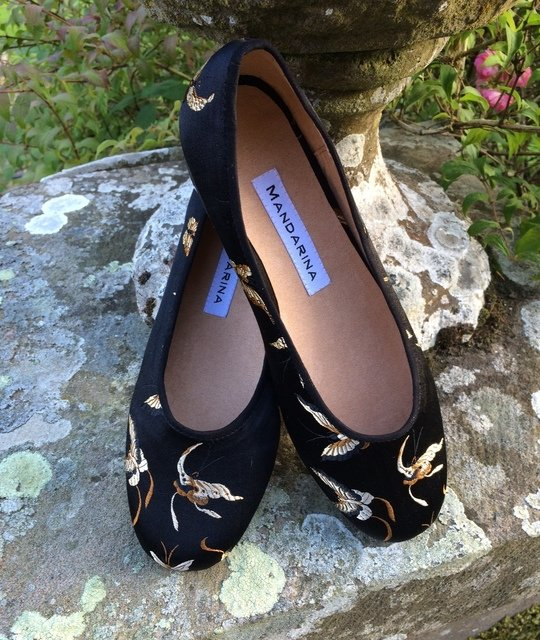 Black & Gold Butterfly Brocade Pumps