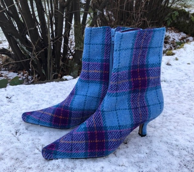 Blue Check Harris Tweed Ankle Boots