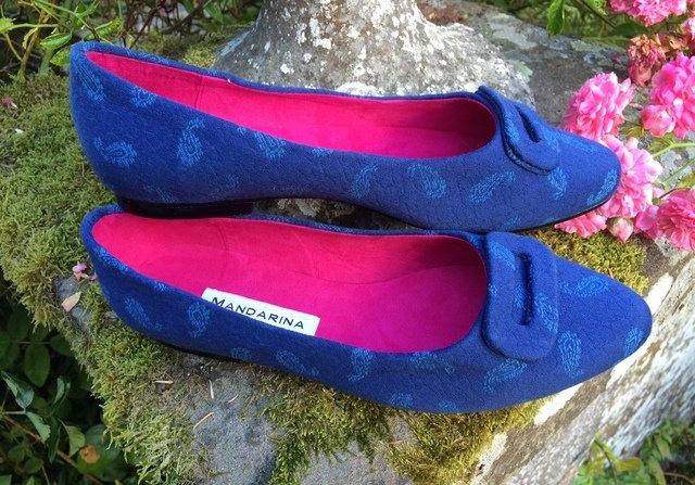 Blue Paisley Buckle Pumps