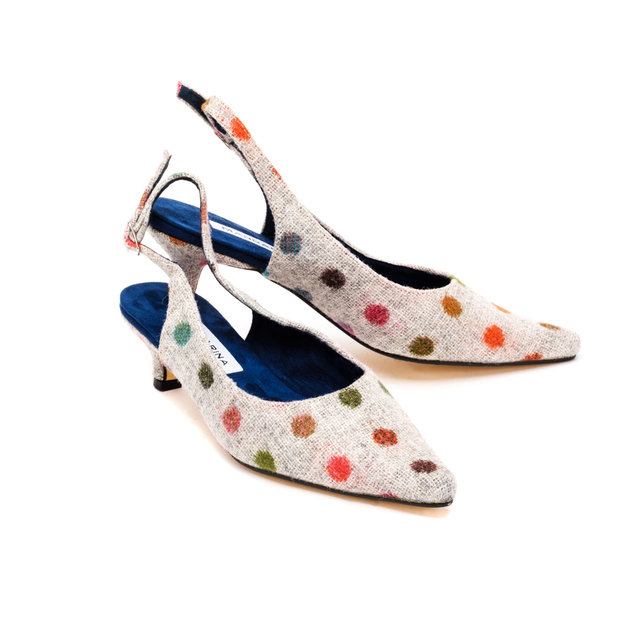 Bronte Kitten Heels / Grey Multi Spot