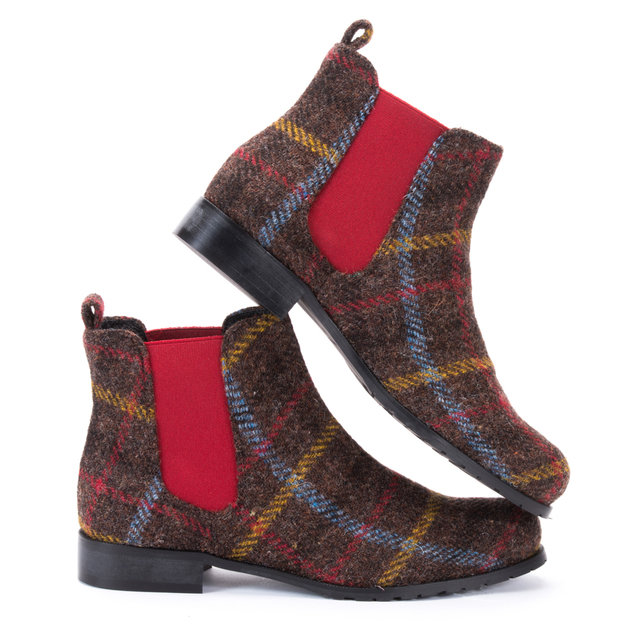 Brown Multi Check Harris Tweed Chelsea Boots Thumbnail