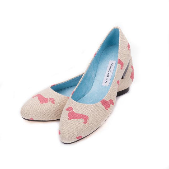 Handmade Dachshund Print Pumps Pink Sale Mandarina Shoes