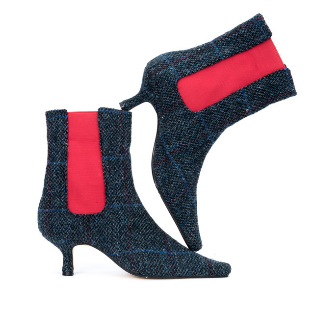Denim & Scarlet Tweed Ankle Boots Thumbnail