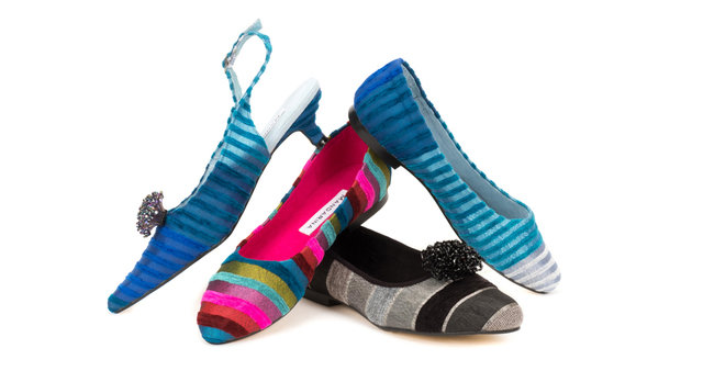 ELECTRIC BLUE STRIPED KITTEN SLINGBACKS