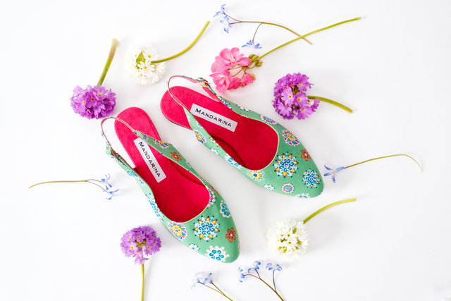 Green Petal Print Sandals Thumbnail