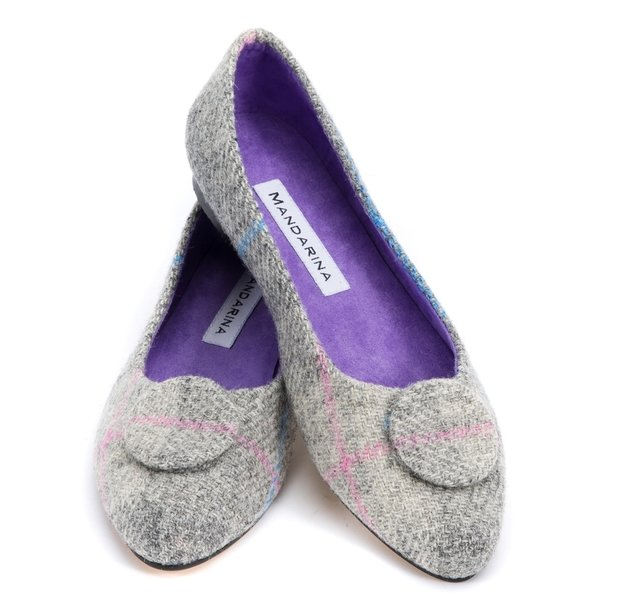 Grey Tweed Button Pumps / Size 42