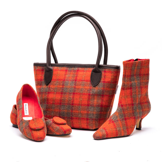 Harris Tweed Bucket Bag / Orange Check