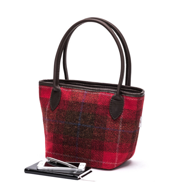 Harris Tweed Bucket Bag / Red