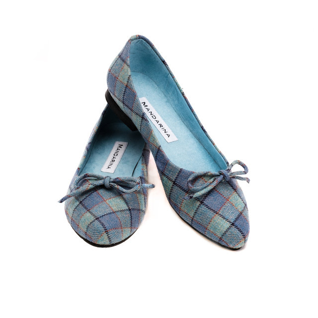 low priced 01864 1a973 Blue Plaid Ballerina Pumps