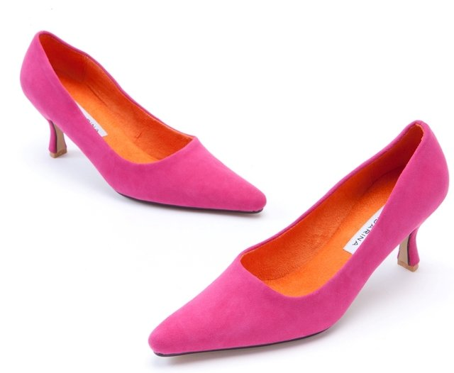 Hot Pink Suede Court Shoes