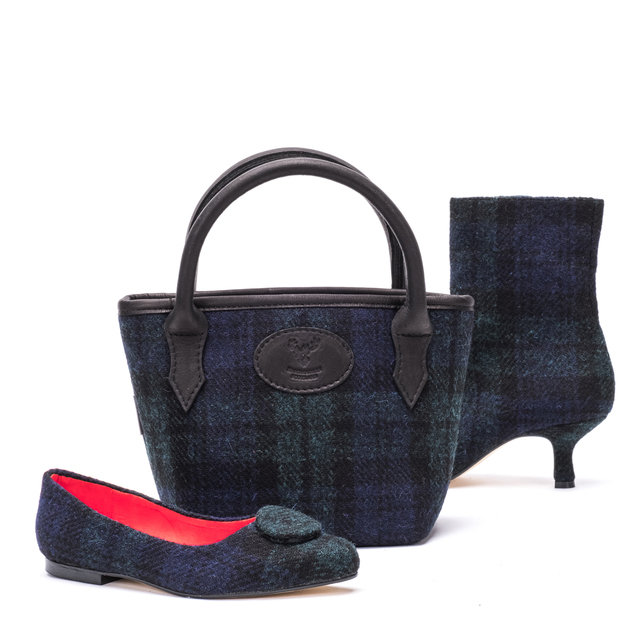 Mini Tweed Bucket Bag / Black Watch