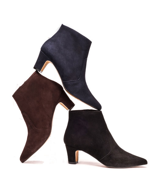 Navy Suede Ankle Boots Elegant Ankle Boots Mandarina Shoes