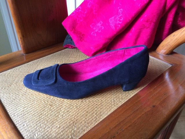 Navy Suede Mid Heel Court Shoes