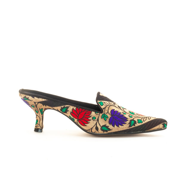 Noor Silk Evening Mules