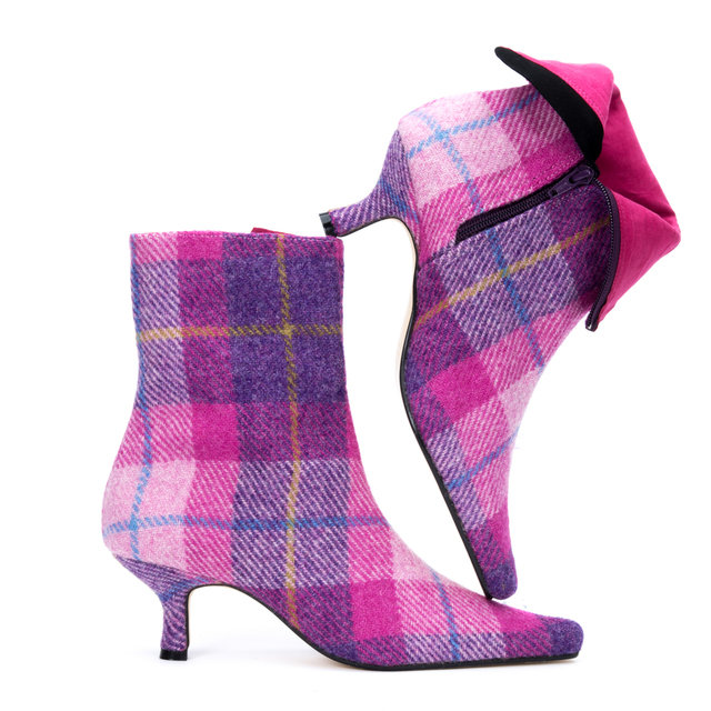 Pink Check Harris Tweed Ankle Boots