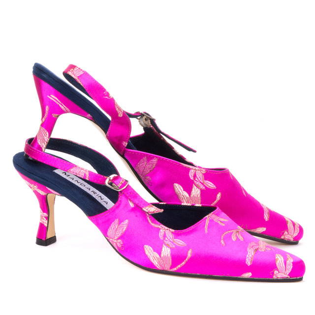 Pink Dragonfly Brocade Slingbacks