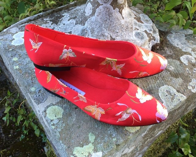 Red Butterfly Silk Pumps