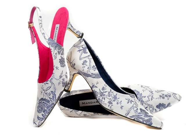 Silver & Blue Brocade Court Shoe
