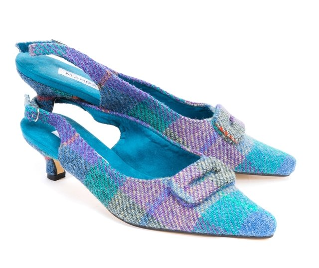 Turquoise Multi Check Harris Tweed Kitten Heel | Mandarina Shoes