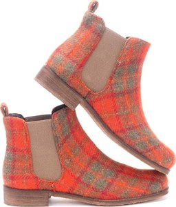 Orange Check Harris Tweed Chelsea Boots