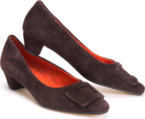 Brown Suede Mid Heel Court Shoes