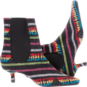 Aztec Multi Stripe Pull On Ankle Boots