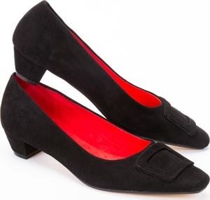 Black Suede Mid Heel Court Shoes