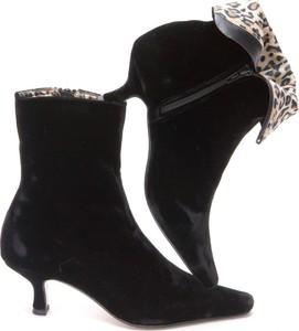 Black Velvet & Leopard Ankle Boot