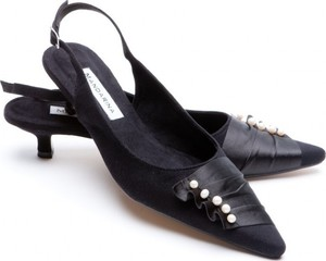 Black Pearl & Satin Trim Slingback