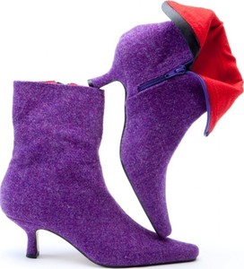 Purple Harris Tweed Ankle Boots