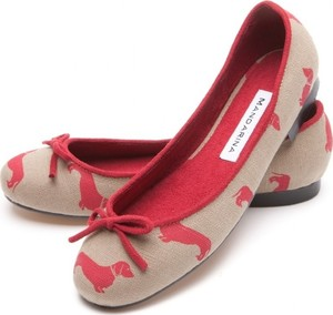 Dachshund Print Linen Pump, Red
