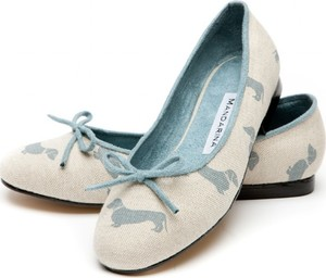 Dachshund Print Pumps, Pale Blue