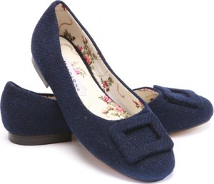 Navy Harris Tweed Buckle Pumps