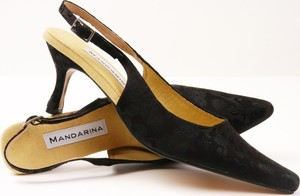 Classic Black Brocade Slingback Shoes