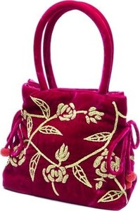 Fuchsia/Lime Embroidered Velvet Handbag